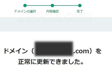 ドメインを正常に更新できました。