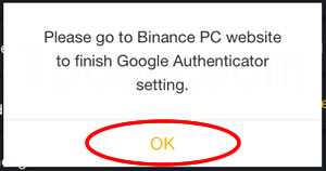 Please go to Binance PC website to finish Google Authenticator setting