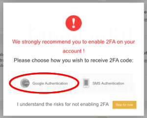 We strongly recommend you to enable 2FA on your account! Please choose how you wish receive 2FA cpde
