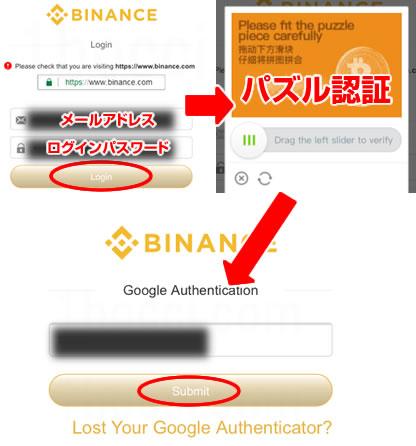 Binance(バイナンス)二段階認証Login(ログイン)方法