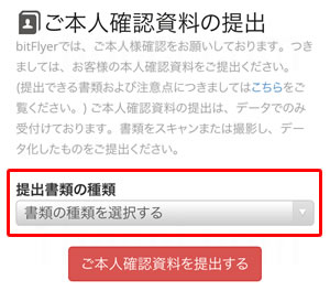 ビットフライヤー(bitFlyer)提出書類の種類の選択