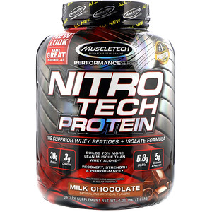 Muscletech ニトロテックホエイペプチドとアイソレート プライマリーソース(Muscletech NitroTech Whey Peptides&Isolate Primary Source)4.00 lbs (1.81 kg)