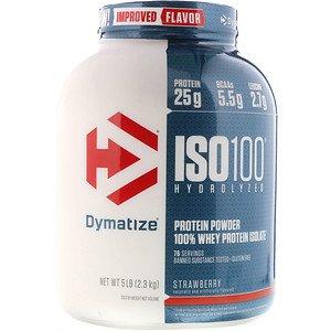 Dymatize Nutrition ISO100加水分解100%ホエイプロテインアイソレート ストロベリー(2.3kg)