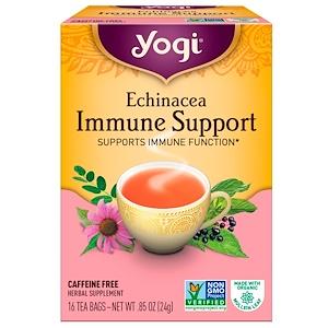 Yogi Tea エキナセア免疫サポート カフェインサポート 16ティーバッグ 0.85オンス