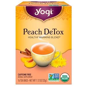 Yogi Tea ピーチデトックス カフェインフリー 16ティーバッグ 1.12オンス (32 g)
