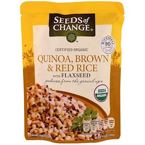 Seeds of Change オーガニック キノア 亜麻の種入りブラウン&レッドライス
