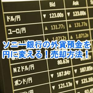 ソニー銀行の外貨預金を日本円に変える!売却のやり方!