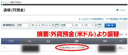 ソニー銀行外貨預金円に振替