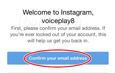 Instagram(インスタグラム)confirm your email address