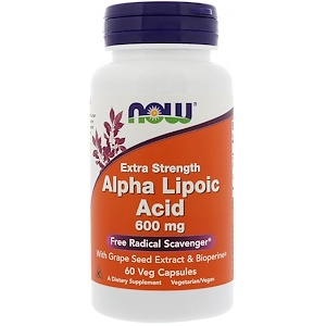 Now Foods アルファリポ酸エクストラストレングス600mg植物性カプセル60個