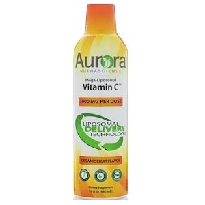 Aurora Nutrascience メガリポソームビタミンC、オーガニックフルーツ味 3000mg 480ml
