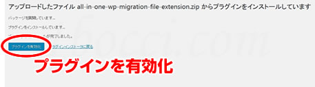 All-in-One WP Migration File Extensionプラグイン有効化