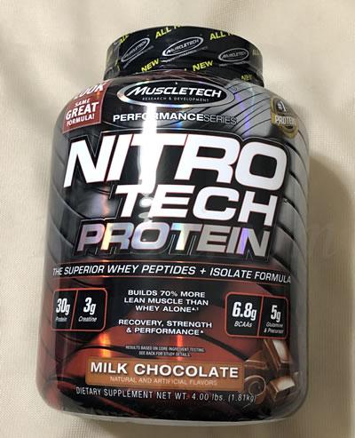 Muscletech ニトロテック ホエイペプチドとアイソレートのプライマリーソース ミルクチョコレート味のレビュー