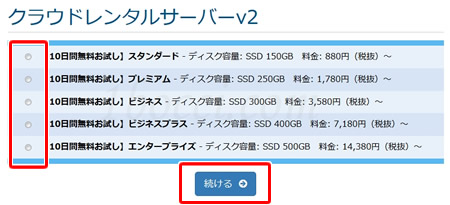 mixhost(ミックスホスト)登録方法クラウドレンタルサーバーv2