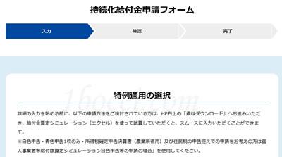 「特例適用の選択」画面【事業収入+白色確定申告】