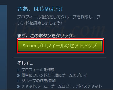 「Steam プロフィールのセットアップ」