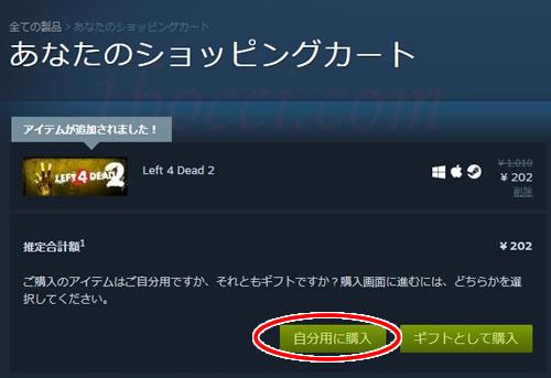 steamゲームの購入方法・買い方:「自分用に購入」