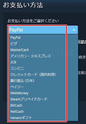 steamゲームの購入方法・買い方:お支払い方法選択